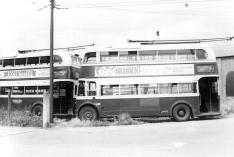 Side views 2 trolleybuses adfter withdrawal, Silverhill Dep 1-6-1959