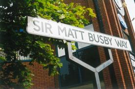 Sir Matt Busby strret name plate from Chester Rd