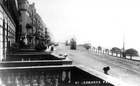 St Leonards Parade, west end looking east, 2 trams