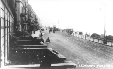 St Leonards Parade, west end looking east, trams in distance, cobbled road