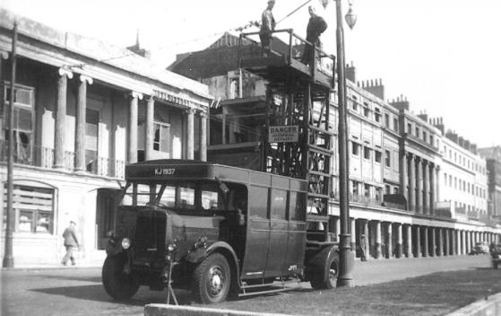 Tower wagon KJ1937 exM&D Leyland titan TD1, St Leo seafront