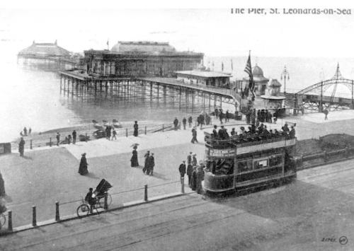Tram car by St Leo pier seen from above
