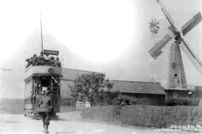 Tram on circular route passing Baldslow windmill
