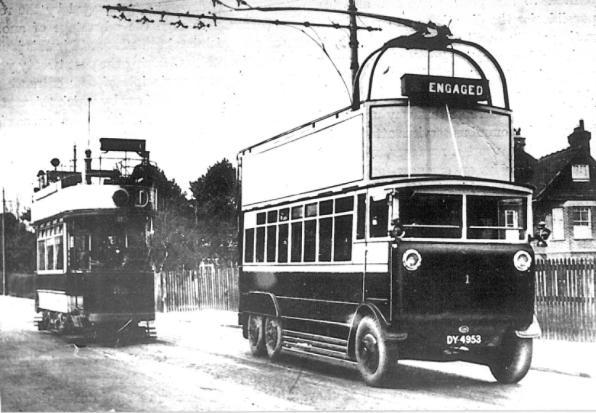 Trolley 1 posed by tram 1928