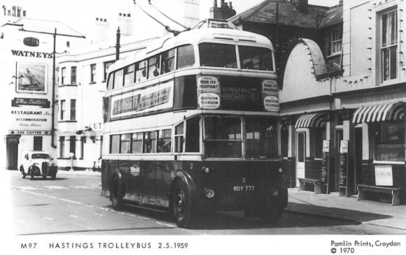 Trolley 2 BDY777 serv 11 to St Helens eastbound @ Fishmarket 2-5-1959