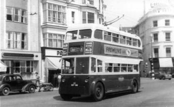 Trolley 43 BDY818 serv 8 to Bexhill, Hastings seafront c1958