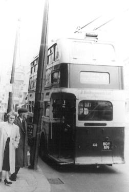 Trolley 44 BDY819 serv 8 to Cooden rear view Robertson St c1958