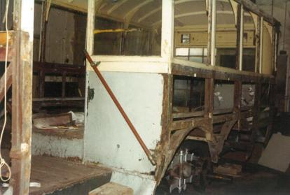 Trolley 45 stripped framework rear nearside c1993