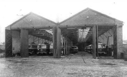 Trollies on depot inc 56 &28 c1928