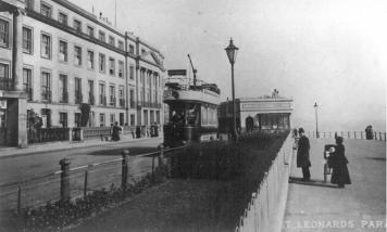 Westbound tram to West Marina St Leonards Parade looking east c1910