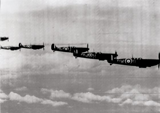 A flight of Supermarine Spitfires of 610 Squadron taken in 1940