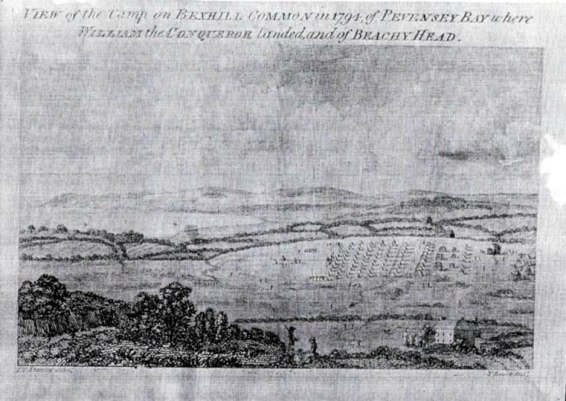 Engraving of the military camp on Bexhill Down in 1794 seen from Belle Hill.