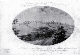 Bexhill village from the north-east, c1794; the lane in the foreground is now Hastings Road