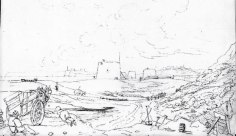 Pen and Ink drawing c1828 at Bopeep, St Leonards showing the marshy lagoon under the cliffs and the line of Martello Towers. Beachy Head and Galley Hillcan be seen on the left with Bexhill on the hilltop in the background. Bexhill seen from the road to Hastings (now Hastings Road) c1828.