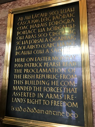 Plaque about the 1916 Easter Rising