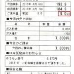 2015年4月6日検診9立法で7300円