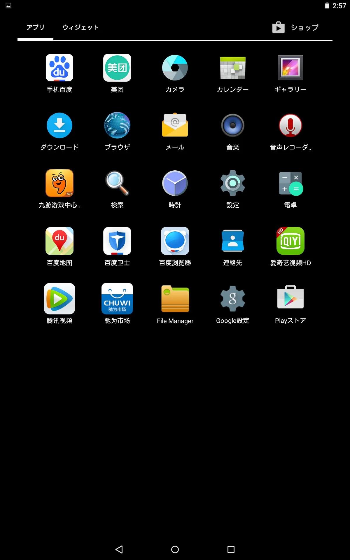 中華アプリは日本語不可、それ以外は日本語になる。
