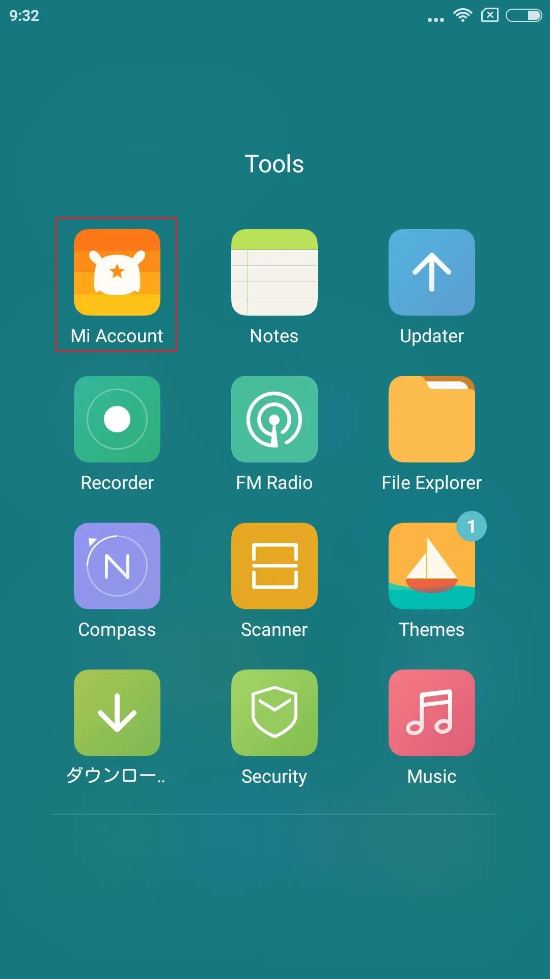 ToolsフォルダにMi Accountアプリがある(Settingsからもアクセス可能)
