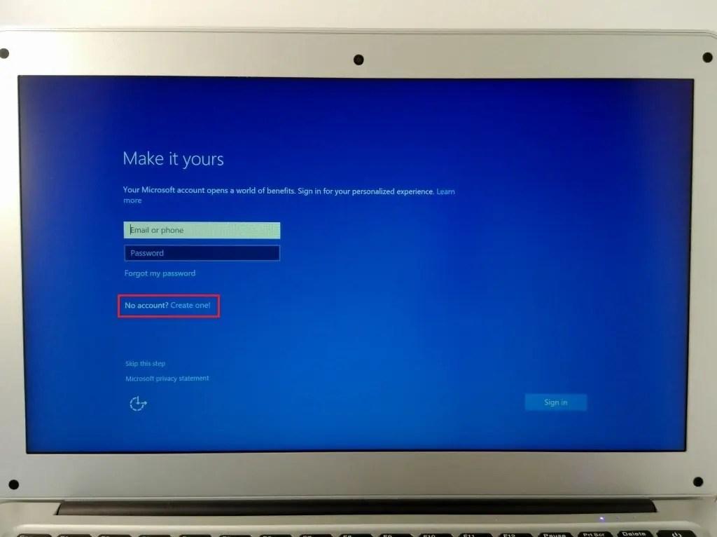 Microsoftのアカウント、Create Oneで作成する