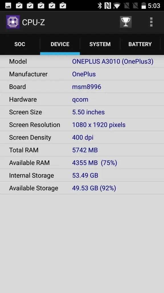 OnePlus 3T CPU-Z DeVICE Board msm8996
