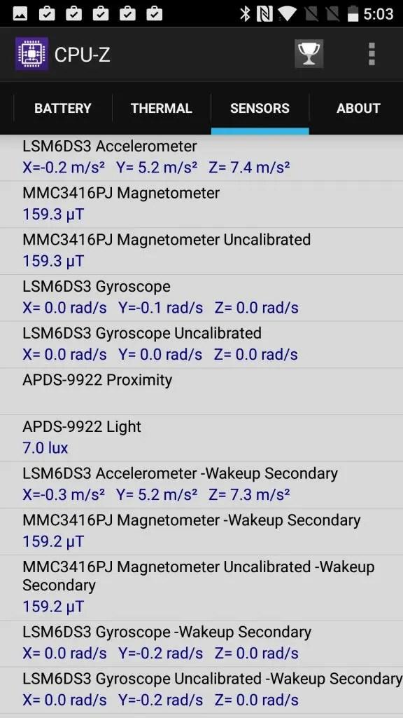 OnePlus 3T CPU-Z SENSORS 1