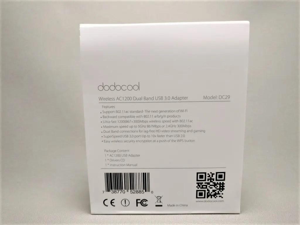 dodocool AC1200デュアルバンド USB3.0 Wi-fiアダプタ 化粧箱 裏