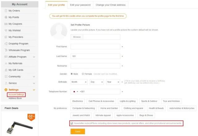 Banggood パソコンのAccount Settingsの画面