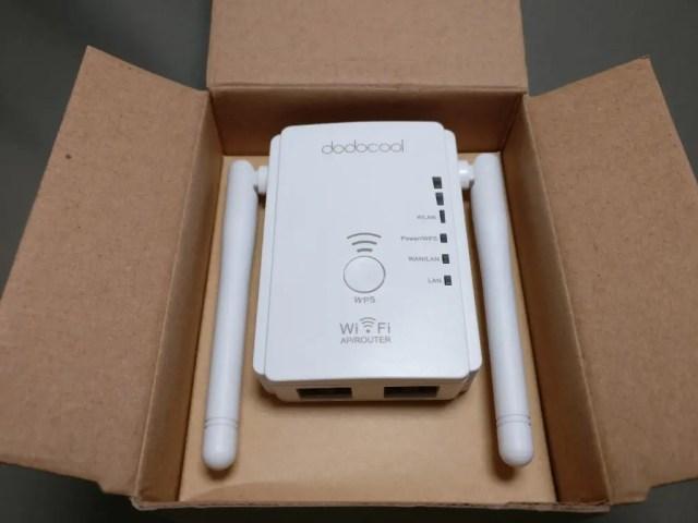 dodocool N300 Wifiルーター・中継器・APモード 3役 11g/b/n対応 300Mbps コンセント直挿し 開封