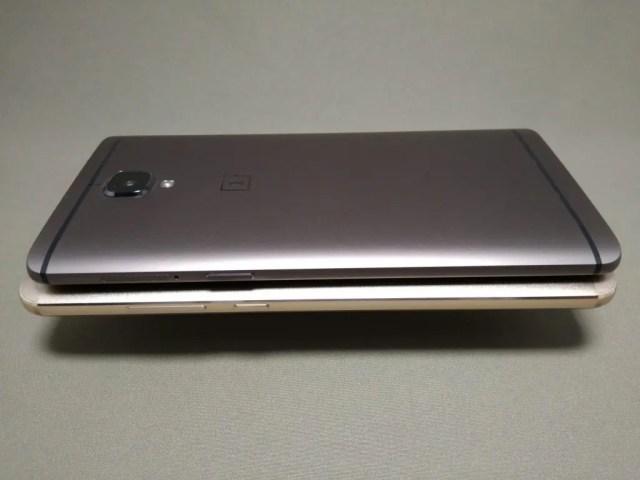 OnePlus 3TとHuawei Mate9 側面左
