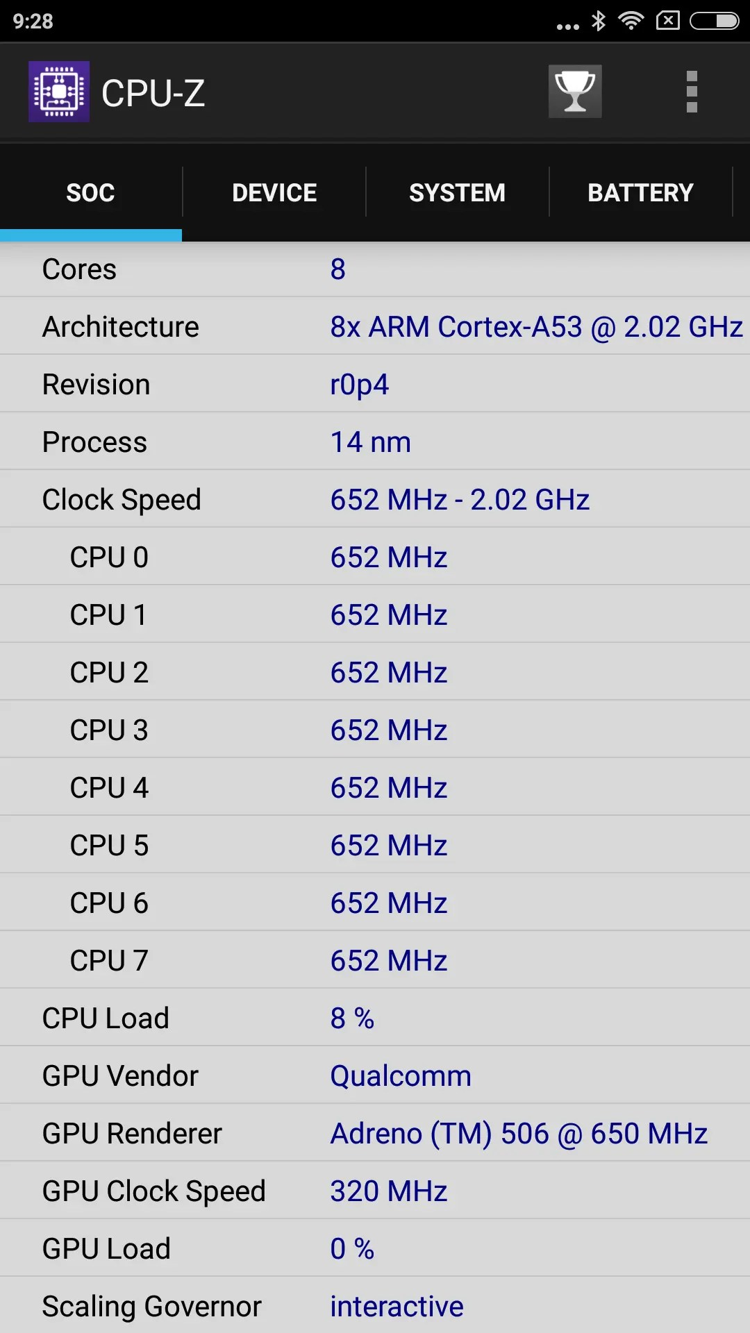Xiaomi Redmi Note 4X CPU-Z SOC2