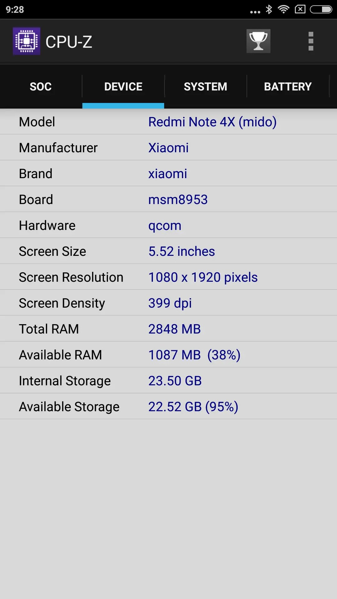 Xiaomi Redmi Note 4X CPU-Z Device
