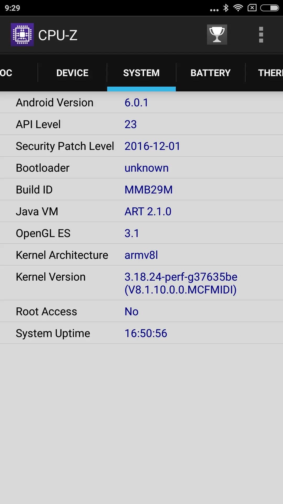 Xiaomi Redmi Note 4X CPU-Z System