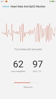 Lenovo ZUK Z2 Pro U Health ヘルスアプリ ハートレート 心拍計測中