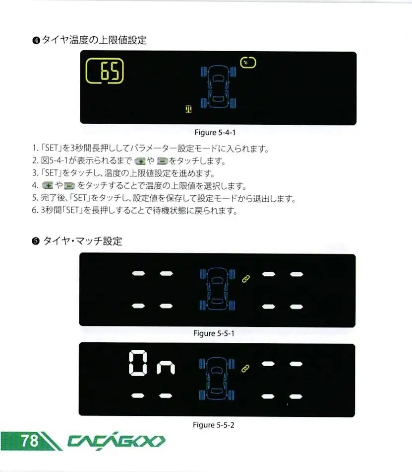 CACAGOO TPMS タイヤ空気圧監視システム 取説 78