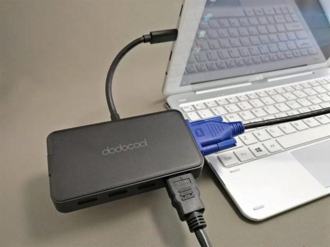 dodocool HDMI D-sub 有線LAN USB3.0 7役 USB-C PDハブ HDMI D-SUB接続できない