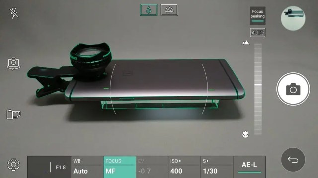 LG V20 Pro カメラ マニュアルモード フォーカスピーキング ガイドが表示される