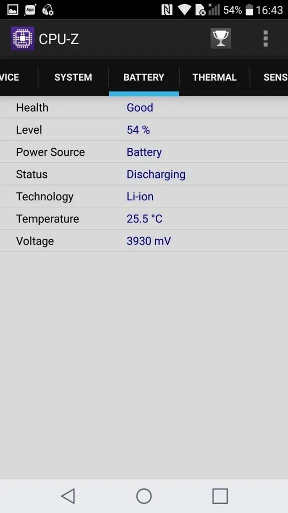 LG V20 Pro CPU-Z battery