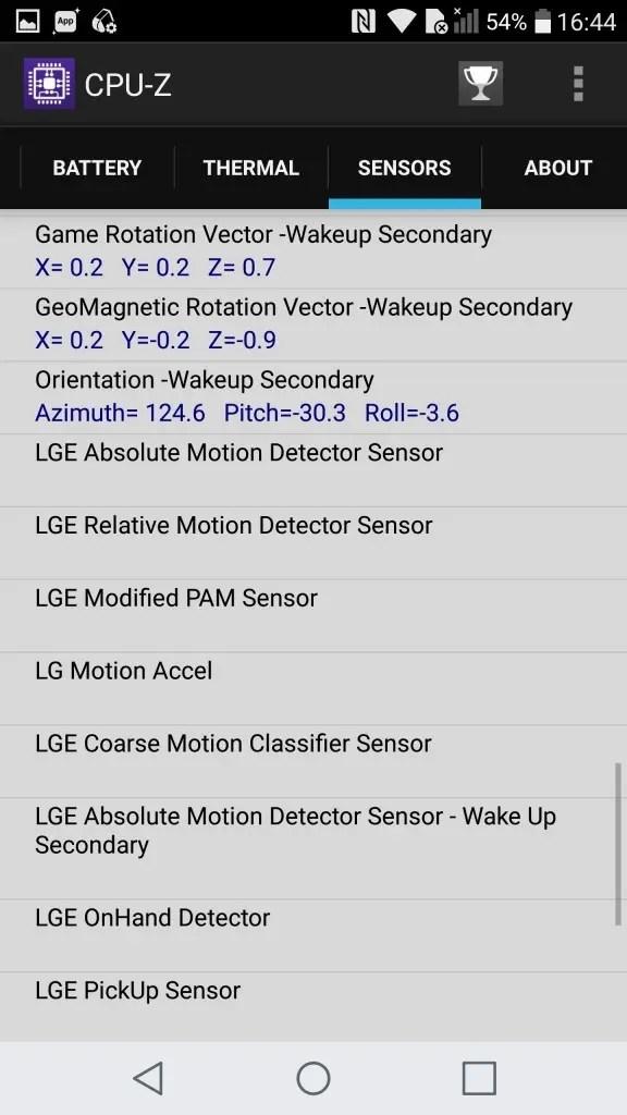 LG V20 Pro CPU-Z Sensors4