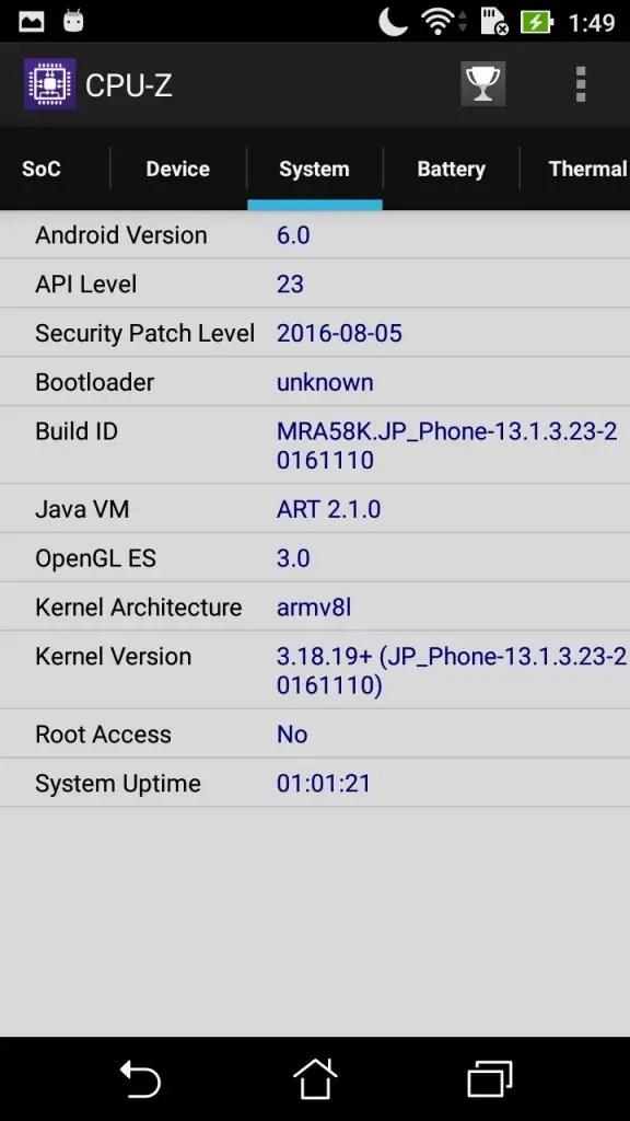 ASUS Zenfone Max 3 CPU-Z System