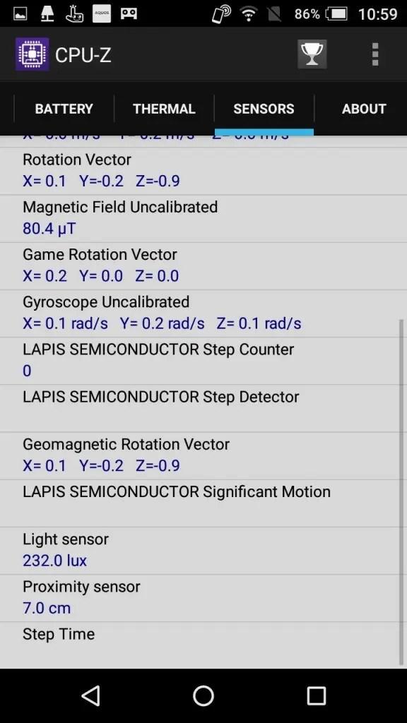 楽天モバイル シャープ SH-M04 CPU-Z Sensers