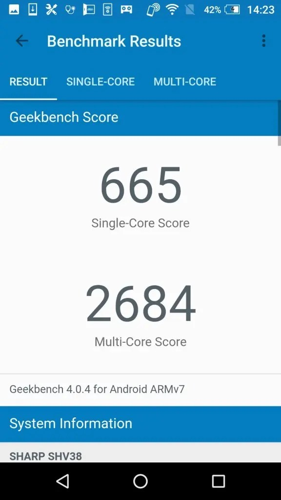 シャープ AQUOS SERIE mini SHV38 Geekbench1