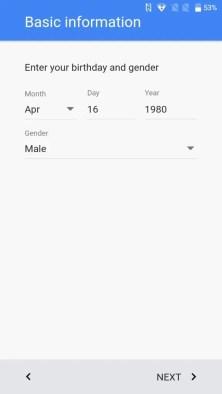 初期設定 Googleアカウント 生年月日