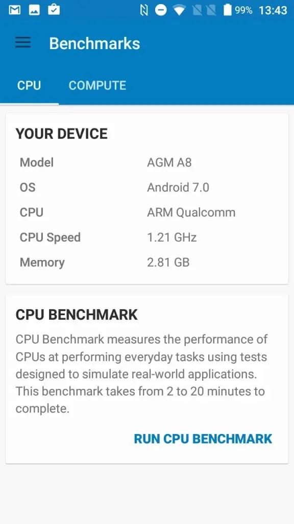 AGM A8 Geekbench system