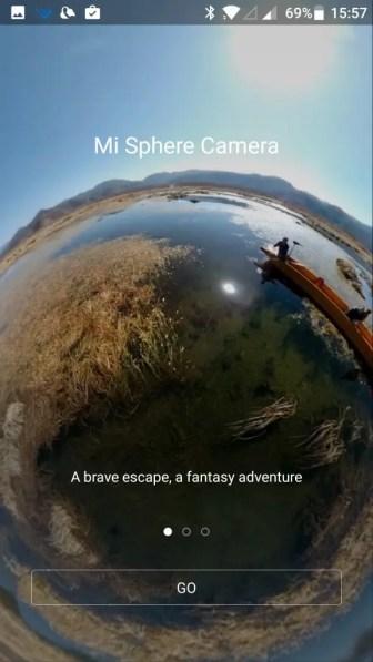 Mi Sphere Cameraアプリ 起動画面