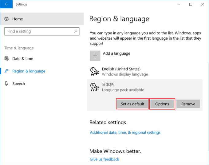 VOYO Vbook V2  Settings > Time & Language > Region & language  Set as default