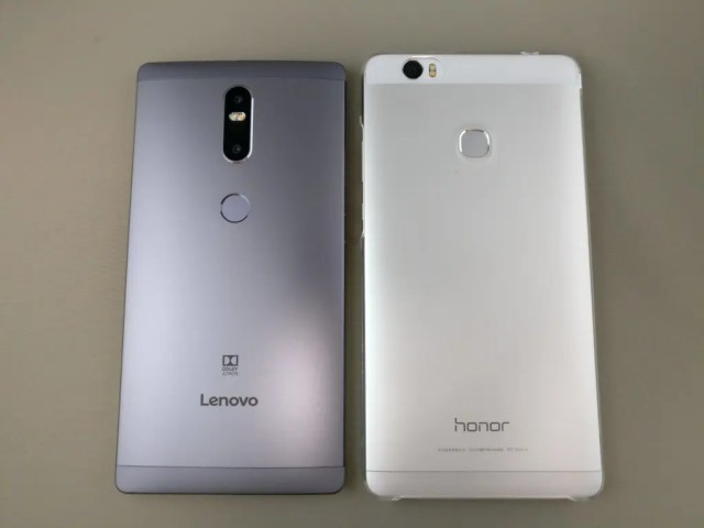 LENOVO Phab 2 Plus Huawei honor note 8と比較 裏 真俯瞰