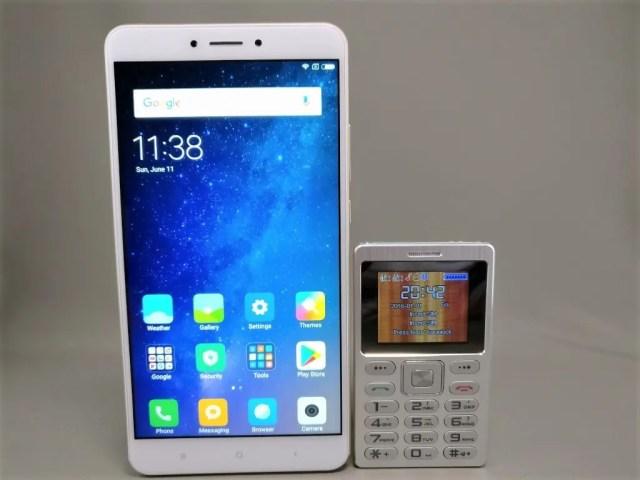 SATREND A10 GSM ミニカードフォン Xiaomi Mi Max 2と比較 縦