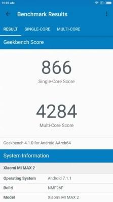 Xiaomi Mi Max 2 GeekBench 866