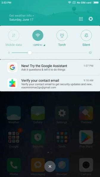 Xiaomi Mi Max 2 English 通知パネル1