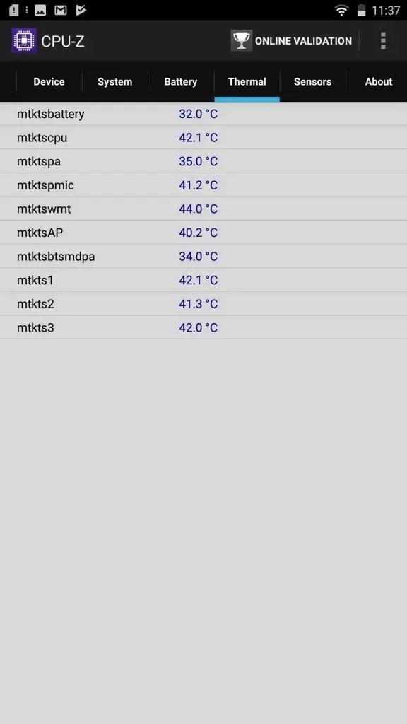 LENOVO phab2 Plus CPU-Z Thermal